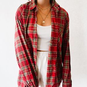 Vintage Oversized Button Up Flannel Red & Green